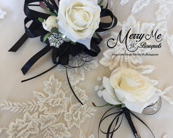 Black and White Wrist Corsage - Black and White Boutonniere - Black and White Rose Boutonniere - Rose Corsage and Boutonniere - Corsage Set