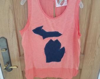 Women's upcycled handmade Michigan map shirt