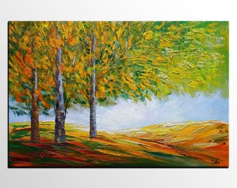 Birch Tree, Landscape Painting, Abstract Art, Canvas Art, Abstract Painting, Canvas Art, Oil Painting, Wall Art, Canvas Painting, Large Art