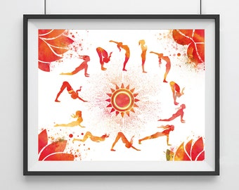 Red Sun Salutation yoga - watercolour - Sun Salutation yoga - meditation