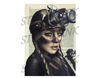 illustration woman minor STEAMPUNK - print - art print - painting - wall decor