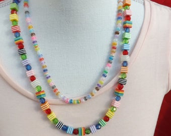 Summer necklace, multi-line necklace, resin necklace, double necklace, striped necklace, colourful necklace, stripey summer jewellery,