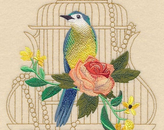 SHABBY CHIC STYLING Birdcage Bird and Rose Feminine Machine Embroidered Quilt Square, Art Panel