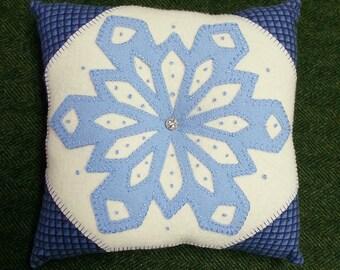 Snowflake Pillow Wool Applique Pattern - White Oak Ridge Designs