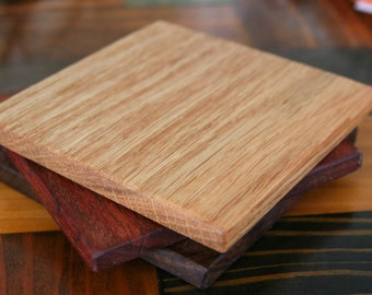 Wood Coaster Set: Hardwood Variety