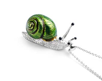 Snail Pendant Charm Necklace In Silver and Enamel by Deakin & Francis
