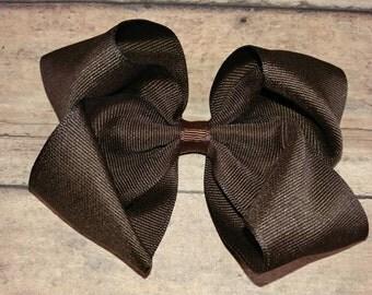 Dark brown hair bow - Brown bow - Big Brown Hair Bow - Large dark brow hair bow