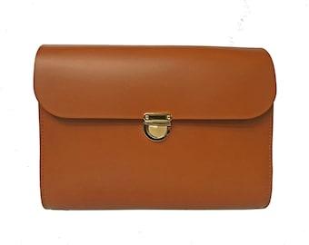 Tan Leather Crossbody Bag - Handmade in UK - Clutch Bag - Tan Leather Bag - Tan Satchel