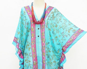 Kaftan Kimono Beach Cover up Bikini Cyan Boho Blouse Butterfly sleeve Tunic Gift Top Maternity Swimwear Plussize seethrough colorful Summer