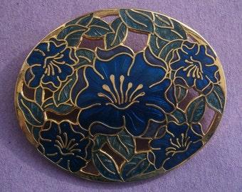 B851) A lovely large vintage cloisonné blue enamel flowers signed fish oval brooch