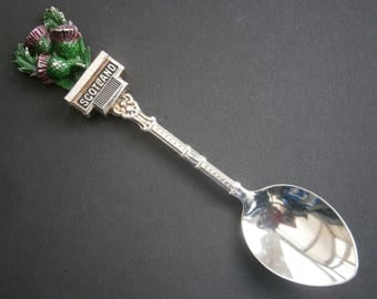S340) Vintage Silver tone metal enamel Scottish Scotland Thistle Souvenir Collectors spoon