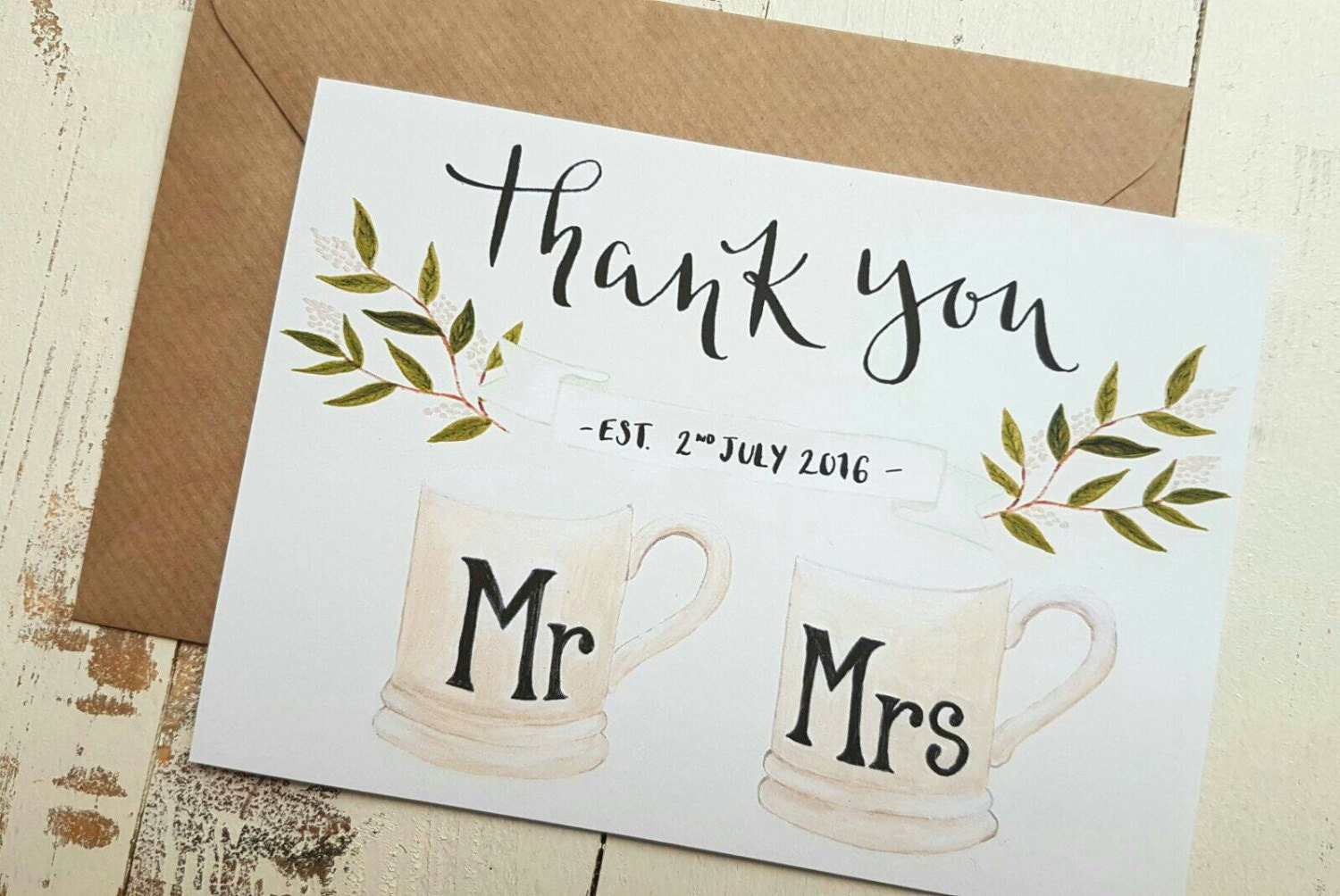 Wedding day thank you cards couples