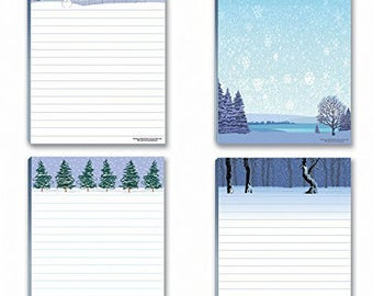 Winter Theme Notepads - 4 Assorted Note Pads - Winter Scene - 637