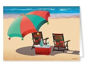 Beach Holiday Greetings Christmas Card - 18 Cards/ 19 Envelopes - 30054a