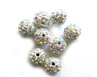 10 White Rainbow Rhinestone Disco Ball Beads 10mm