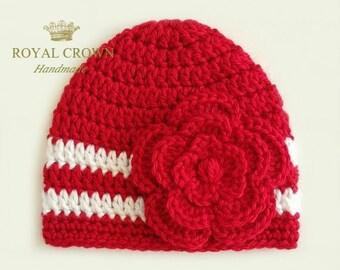Newborn Baby Girl Hat,Newborn Girl Hat,Infant Girl Hat,Baby Girl Hat,Crochet Newborn Hat,Valentine Girl Hat,Newborn Photo prop,Red White Hat