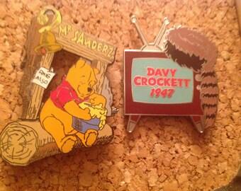 2 Pin Lot Winnie the Pooh Davy Crockett