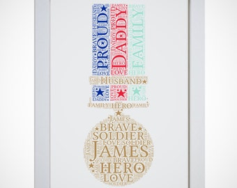 Personalised Soldier Army Heroes Medal Picture Word Art Print Birthday Gift Mum Dad Daughter Son Friend