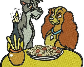 INSTANT DOWNLOAD Machine Embroidery Designs. Lady and the Tramp. Lady and the Tramp.