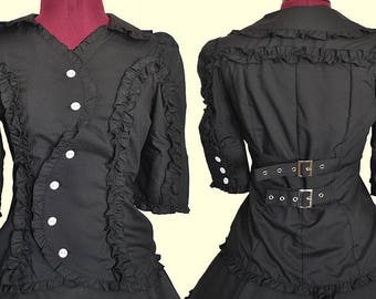Black Lolita Swirl Front Blouse - Ready to Ship