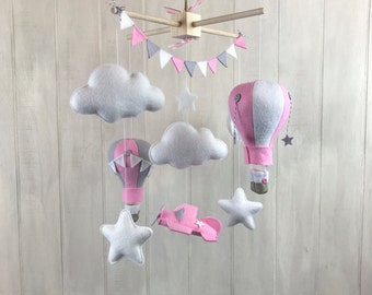 Baby mobile - hot air balloon mobile - airplane mobile - airplane nursery - pilot mobile - cloud mobile - baby mobiles - nursery decor mint