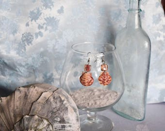 Pink Sun Ray Scallops with Peach Square Glass Beads and Silver Wire Work