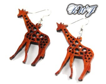 Wood Earring, Giraffe Earring,Wood Jewelry, Earth Friendly, Great Gift Idea, African, Pierced Earring, Zoo Animal,