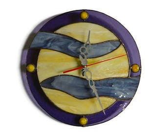 Wall clock full moon and stars yellow, gray, violet - Moon clock - Stained Glass - Unique Wall Clock - Wall art, Wall decor, Home decor