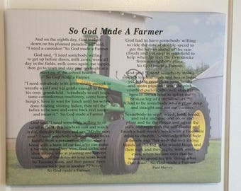 Father's Day - Custom Photo So God Made A Farmer by Paul Harvey Canvas or Wood Sign - Christmas, Father's Day Gift, FFA, Birthday Gift