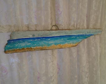 Beautiful Ocean Painting on an AMAZING Piece of Driftwood in the Shape of an ARROW