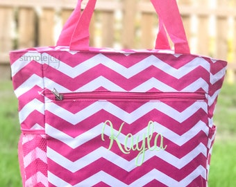 Pink Tote Bag, Monogrammed Tote Bag, Multipurpose Tote Bag, Chevron Tote Bag, Bridesmaids Gifts, Monogrammed Gifts, Gift for her, Market Bag