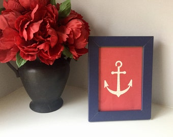 "5""x7"" Blue & Red Anchor Print - 3D Layered Paper Art"