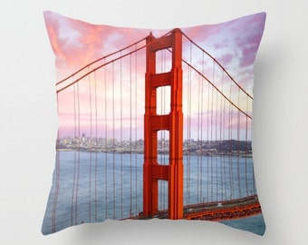 Golden Gate Bridge Pillow, San Francisco Photo Cushion, Orange Blue Yellow, Modern Soft Furnishings, Home Decor Cushion, Bedroom Living Room