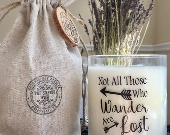 Soy Candle * Not All Those Who Wonder * Inspirational Candle * Candle With Quote * Inspirational Gifts * Candles With Messages