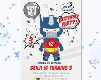 Transformer invite, Transformer invitation, Transformer Party Invite, Transformer, Optimus Prime, Optimus Prime Invitation, Autobot Invite