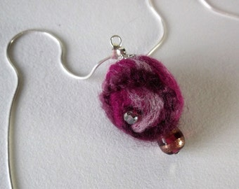 Pink Pendant - Fuchsia Round Ball - Felted Jewellery - Silver Chain (82)