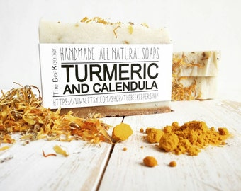 Turmeric Soap, Calendula Soap, Yellow Clay Soap, Saint Johns Wort, Herbal Soap, Cold Process Soap, Vegan Soap, Sensitive Skin, Palm Free