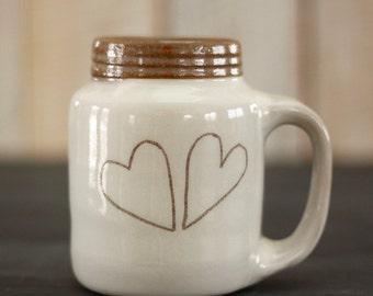 two hearts mason jar mug - 14 oz - rustic white and brown - READY TO SHIP