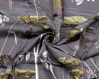 "HERMES SCARF Silk ""Les Bolides"" by Rena Dumas Vintage 90cm Carre 100% Auth"