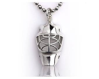 SALE!! Sterling Silver Goalie Ice Hockey Jr. Helmet, Hockey Goalie Mask, Ice Hockey Jewelry, Silver chain, Personalized gift