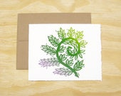 Single Block Printed Card - Fiddlehead Fern Card - Spring Sprouts - READY TO SHIP