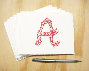 Letter A Stationery - READY TO SHIP - Personalized Gift - Set of 6 Block Printed Cards