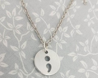 Semi Colon Necklace - Cut Out Necklace - Awareness - Semicolon - keep going - my story isnt over