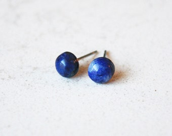 blue sodalite earring studs surgical steel hypoallergenic post minimalist boho bohemian style accessories natural look 6mm semiprecious