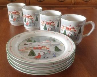 "Four (4) Joan Luntz Designed SILENT NIGHT 7-5/8"" Salad / Dessert Plates by Sango"