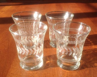 Anchor Hocking Gray Cut AHC55 LAUREL and Horizontal Lines Crystal 4 Ounce Flat Tumbler / Juice Glasses (4)