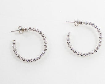 Vintage Silver Tone Beaded Hoop Earrings
