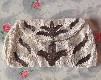 Vintage purse, cream and brown 1920s beaded purse, vintage beaded purse, 1930s beaded purse, Gatsby bag, flapper purse, art deco evening bag