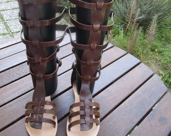 Hand Made Leather Boots (Gold, Brown Colour)