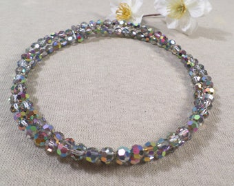 Beautiful Vintage Silver Tone Smokey Crystal AB Beaded Choker Necklace  DL#2602